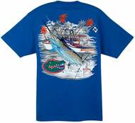 Guy Harvey Collegiate Boat Florida Men's Back-Print Pocketless Tee in White, Royal Blue or Orange