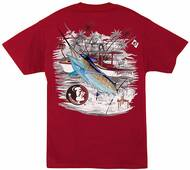 Guy Harvey Collegiate Boat FSU Men's Back-Print Pocketless Men's Tee in Athletic Heather, Black or Garnet