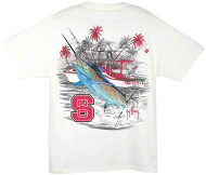 Guy Harvey Collegiate Boat NCS Men's Back-Print Pocketless Tee in White