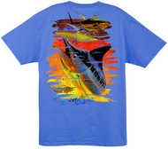 Guy Harvey Chainsaw  Men's Back-Print Tee, w/Pocket in White or Ocean Blue