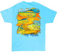 Guy Harvey Motormouth Men's Back-Print Tee, w/Pocket, in Pool Blue, Navy, Yellow or Kelly Green