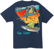 Guy Harvey Halo Men's Back-Print Tee, w/Pocket, in Aqua Blue, Navy  or Orange