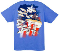 Guy Harvey Old Faithful Men's Back-Print Tee, w/Pocket, in Ocean Blue, Red or White
