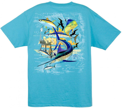 Guy Harvey Oil Rig Collage in Aqua Blue