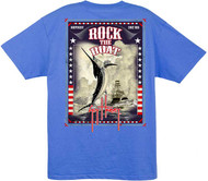 Guy Harvey Rock the Boat Men's Back-Print Tee, w/Pocket, in Ocean Blue, Cardinal Red or White