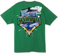 Guy Harvey Going Down Men's Back-Print Tee w/ Pocket in White or Kelly Green