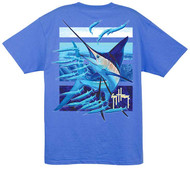 Guy Harvey Ballyhoo Men's Back-Print Tee w/ Pocket in Ocean Blue, Yellow or Cardinal Red