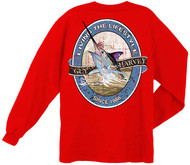 Guy Harvey Lifestyle Label Back-Print Men's Long Sleeve Tee w/Pocket in White or Red