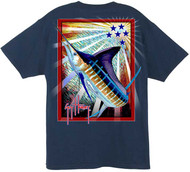 Guy Harvey On the Move Men's Back-Print Tee w/ Pocket in Navy, Red or Yellow