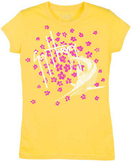 Guy Harvey Flower Toss Little Girls Tee Shirt in Yellow