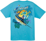 Guy Harvey Marlin Air Men's Back-Print Tee w/ Pocket in Aqua Blue, Orange, Yellow or Navy