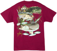 Guy Harvey Linesider Back-Print Men's Tee w/ Pocket in Cardinal or White
