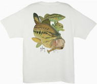 Guy Harvey Largemouth Bass & Crawdad  Men's Back-Print Tee w/ Pocket in White or Denim Blue