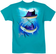 Guy Harvey Sailfish Spiral Boys Tee in Lime, Hot Pink or Red