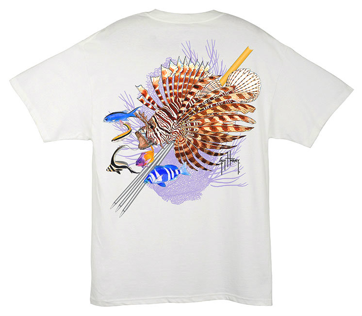 6aa1b3d485831 Guy Harvey 'Lionfish Men's Back-Print Tee w/ Pocket in White, Aqua Blue,  Navy Blue or Kelly Green