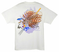 Guy Harvey 'Lionfish Men's Back-Print Tee w/ Pocket in White, Aqua Blue, Navy Blue or Kelly Green