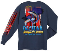 Guy Harvey Daytona Slam Back-Print Men's Long Sleeve Tee w/Pocket in Navy or White
