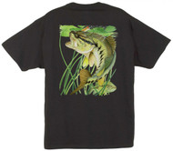 Guy Harvey Largemouth Bass Man's Back-Print Tee w/ Pocket in Black