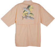 Guy Harvey Dolphin, Wahoo, Kingfish Graphical Technical Short Sleeve Fishing Shirt in White or Melon