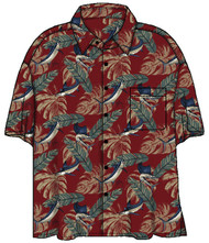 Guy Harvey Look'n Sharp Woven, Aloha-Style Shirt in Red or Navy