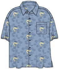 Guy Harvey Mahi Tapa Woven, Aloha-Style Shirt in Denim Blue