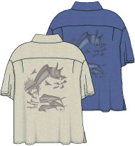 Guy Harvey Dorado Etching - Woven, Aloha-Style Shirt in Blue or Sand