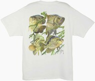 Guy Harvey Bass Three Crappie Men's Back-Print Tee w/ Pocket in White