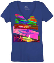 Guy Harvey Swordy Front-Print Junior Ladies V-Neck Tee in Raspberry, Royal Blue or Turquoise