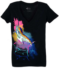 Guy Harvey Classic Sunset Front-Print Junior Ladies V-Neck Tee in Black or Banana