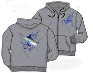 Guy Harvey Marlin Dash Men's Zip-Front Back Print Hoodie in Gray