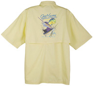 Guy Harvey Offshore Classic Graphical Technical Short Sleeve Fishing Shirt in Yellow