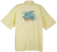 Guy Harvey Tuna Splash Graphical Technical Short Sleeve Fishing Shirt in White, Yellow or Natural