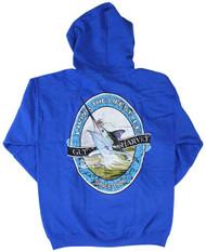 Guy Harvey Lifestyle Label Men's Back-Printed Fleece Zip-Front Hoodie in Red or Royal Blue