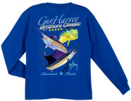 Guy Harvey Offshore Classic Long Sleeve Boys Tee Shirt in Royal Blue or White