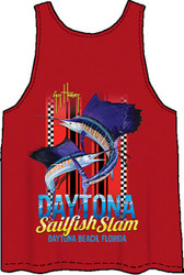 Guy Harvey Daytona Slam Back-Print Men's Tank Top in Navy or Red