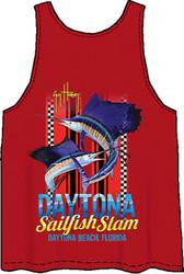 Guy Harvey Daytona Slam Back-Print Men's Tank Top in Navy or Red