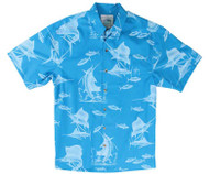Guy Harvey  Sailfish Etch - Woven, Aloha-Style Shirt in Caribbean Blue