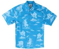 Guy Harvey  Sailfish Etch - Woven, Aloha-Style Shirt in Caribbean Blue