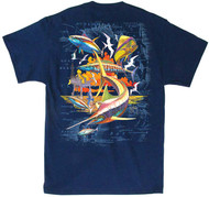 Guy Harvey Sunset Rig Men's Back-Print Tee, w/Pocket, in Kelly Green, Hot Pink or Navy