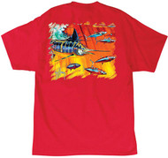Guy Harvey Hydro Men's Back-Print Tee, w/Pocket, in Red, Aqua Blue or Black