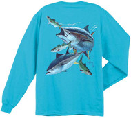 Guy Harvey Hungry Tuna Men's Back-Print Long Sleeve Tee w/Pocket in Aqua Blue