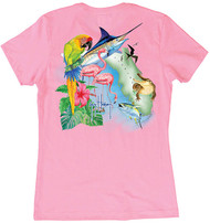 Guy Harvey Florida Icons  Women's Classic Crew Back-Print Tee with Front Signature in Lite Pink, Lite Orange or White