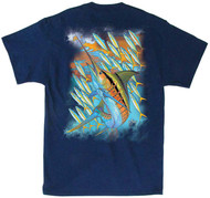 Guy Harvey Hot Marlin Rainbow Men's Back-Print Tee, w/Pocket, in Orange, Navy or Yellow