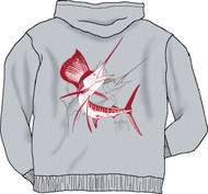 "Guy Harvey Sailfish Dash Men's Back-Printed Fleece Zip-Front Hoodie in 8 ""Team-Spirit"" Color"