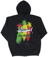 Guy Harvey Striper Men's Back-Printed Fleece Zip-Front Hoodie in Black