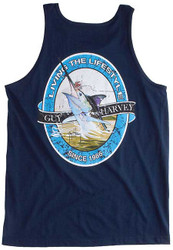 Guy Harvey Lifestyle Label Back-Print Men's Tank Top in Navy or Charcoal