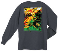 Guy Harvey Reggae Blue Back-Print Men's Long Sleeve Tee, w/Pocket, in Charcoal Heather