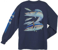 Guy Harvey Wahoo Men's Back-Print Long Sleeve Tee w/Pocket in Navy Blue or White