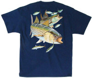 Guy Harvey Striper Snacks Men's Back-Print Tee, w/Pocket, in Yellow, Stonewashed Green or Navy
