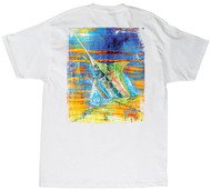 Guy Harvey Blue Panama Men's Back-Print Tee, w/Pocket, in Orange, White or Aqua Blue